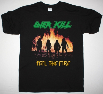 OVERKILL FEEL THE FIRE 1985 NEW BLACK T SHIRT