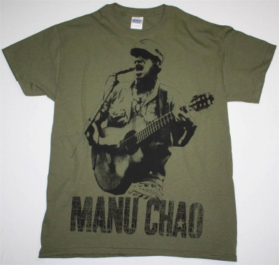 MANU CHAO EN VIVO JUMBO PRINT NEW MILITARY GREEN T-SHIRT