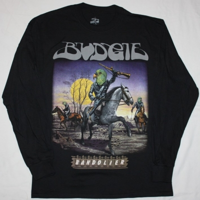 BUDGIE BANDOLIER'75  NEW BLACK LONG SLEEVE T-SHIRT