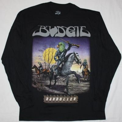BUDGIE BANDOLIER'75  NEW BLACK LONG SLEEVE T-SHIRT