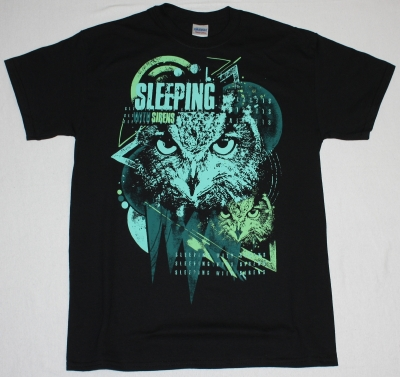 SLEEPING WITH SIRENS OWL NEW BLACK T-SHIRT