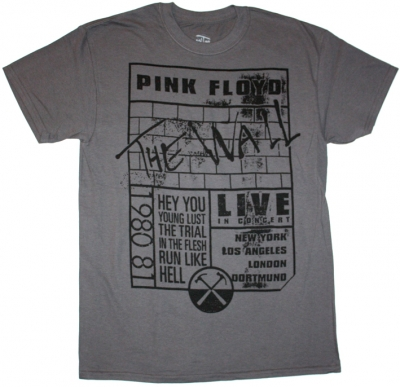 PINK FLOYD THE WALL LIVE 2012 NEW GREY T-SHIRT
