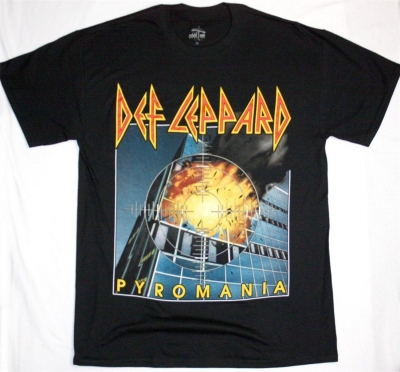 DEF LEPPARD PYROMANIA  NEW BLACK T-SHIRT