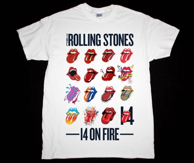ROLLING STONES 14 ON FIRE TONGUE EVOLUTION TOUR 2014 NEW WHITE T-SHIRT