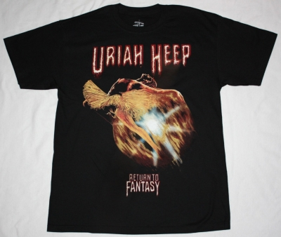 URIAH HEEP RETURN TO FANTASY'75 NEW BLACK T-SHIRT