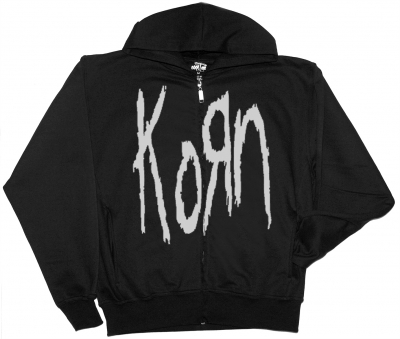KORN LOGO NEW BLACK ZIPPED HOODIE