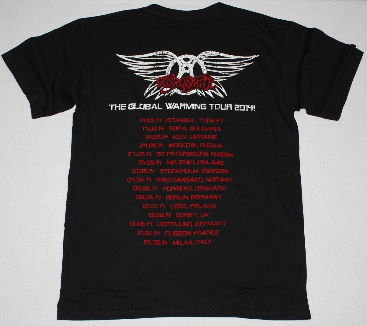 AEROSMITH AERO FORCE ONE THE GLOBAL WARMING TOUR 2014 EUROPE NEW BLACK TSHIRT