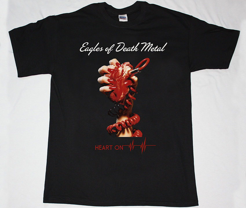 EAGLES OF DEATH METAL HEART ON NEW BLACK T-SHIRT