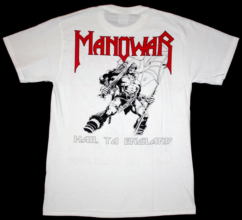 MANOWAR HAIL TO ENGLAND '84  NEW WHITE T-SHIRT