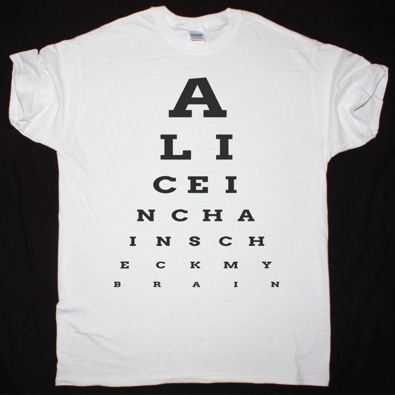 Alice In Chains Eye Chart Check My Brain New White T Shirt Best