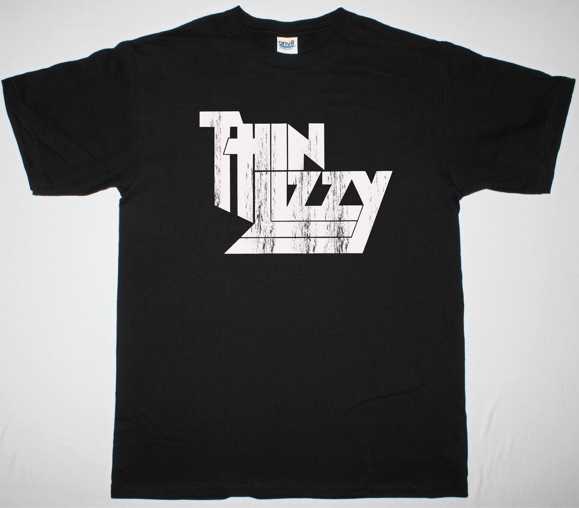 THIN LIZZY DISTRESSED LOGO NEW BLACK T-SHIRT
