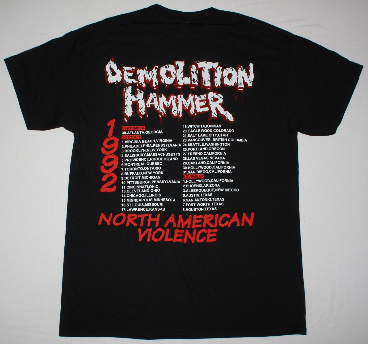 DEMOLITION HAMMER EPIDEMIC OF VIOLENCE NEW BLACK T-SHIRT