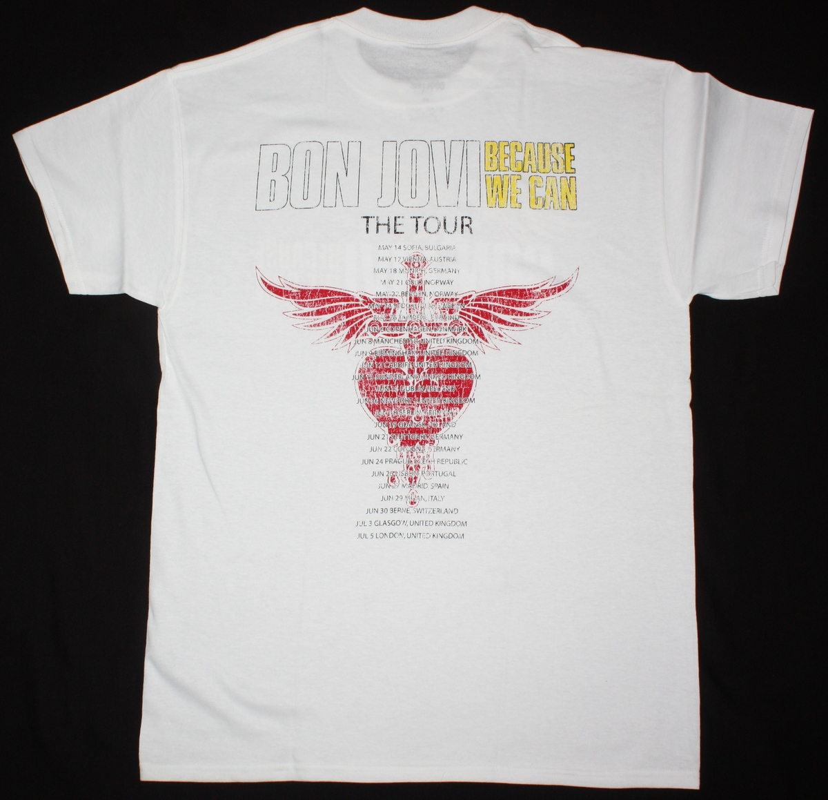 BON JOVI BECAUSE WE CAN THE TOUR EUROPE 2013 NEW WHITE T SHIRT