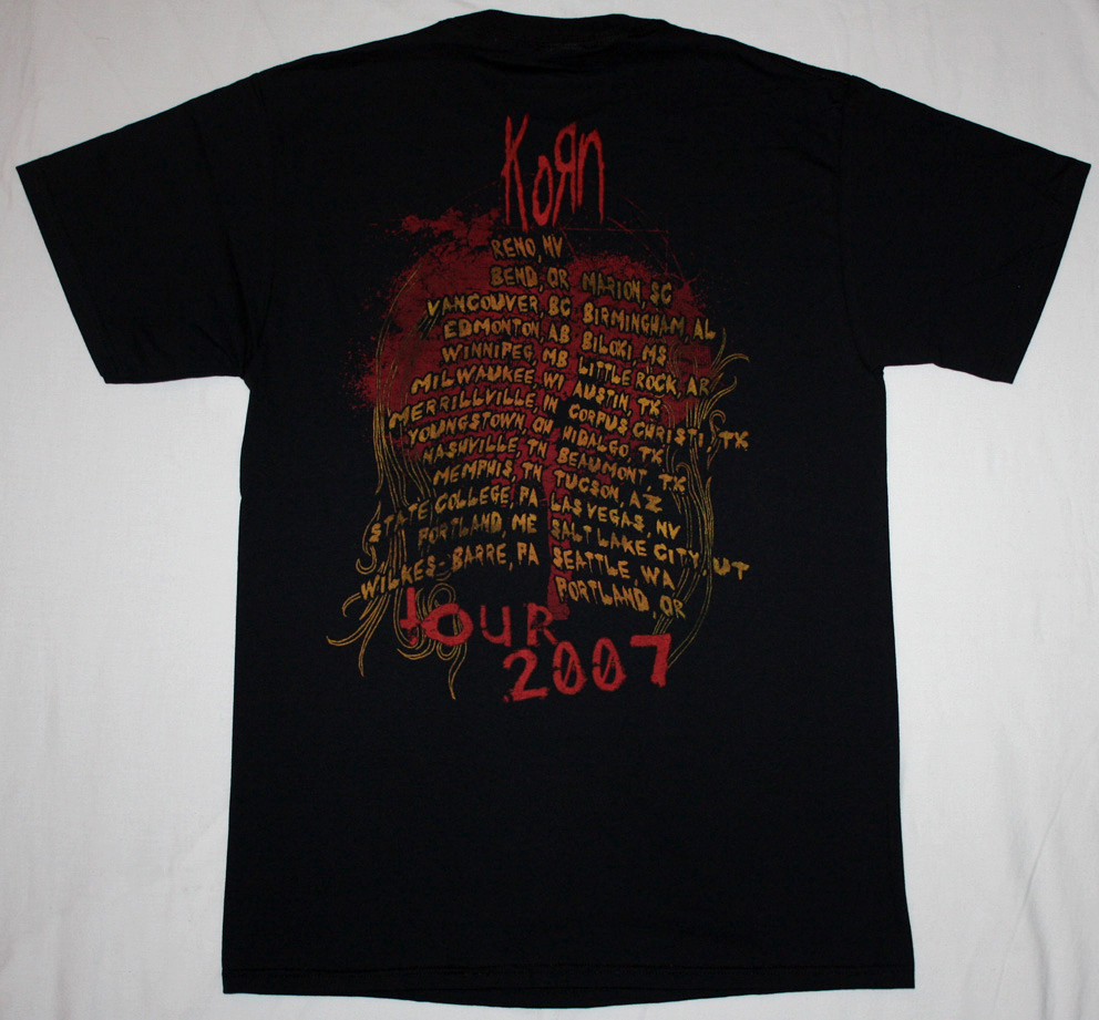 KORN EVOLUTION '07 NEW BLACK T-SHIRT