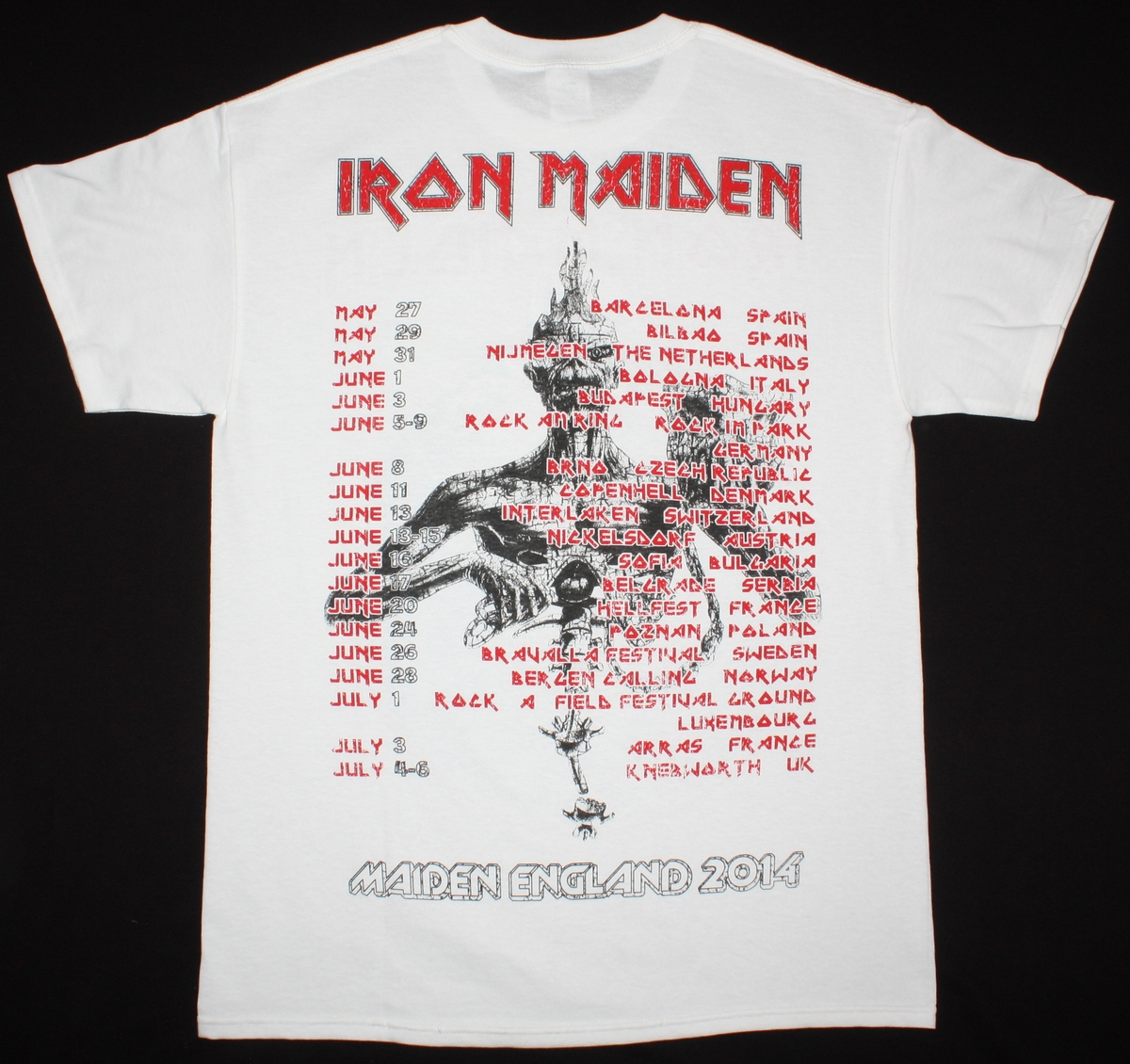 IRON MAIDEN MAIDEN ENGLAND TOUR 2014 NEW WHITE T-SHIRT