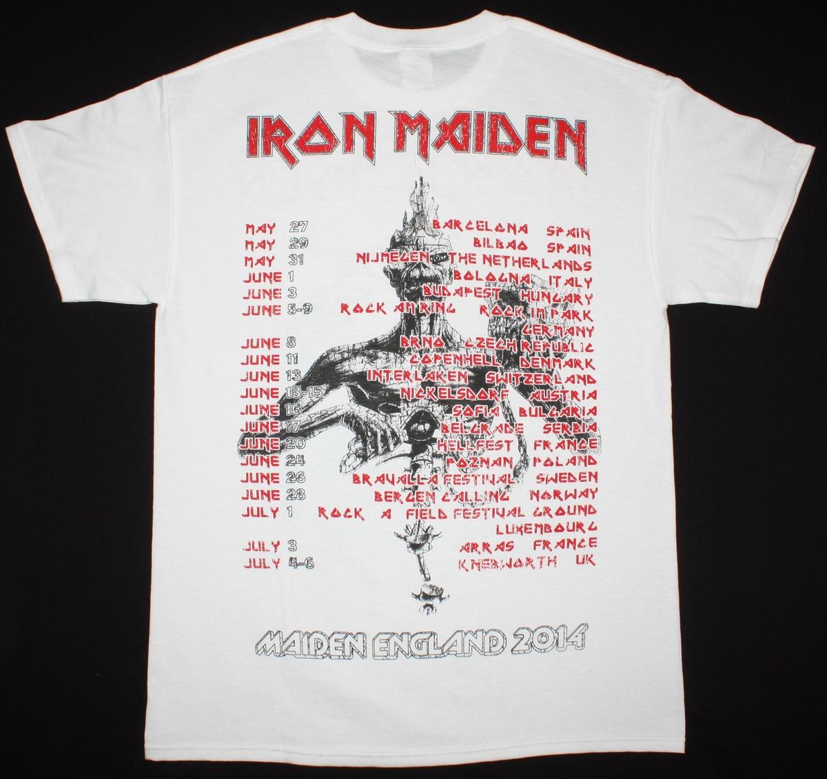 IRON MAIDEN MAIDEN ENGLAND TOUR 2014 NEW WHITE T-SHIRT