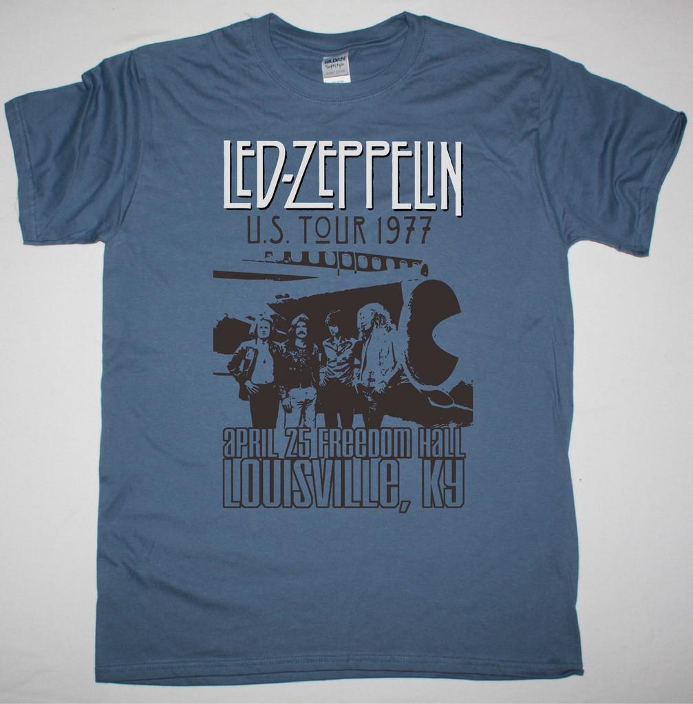 LED ZEPPELIN US TOUR 1977 NEW INDIGO BLUE T-SHIRT