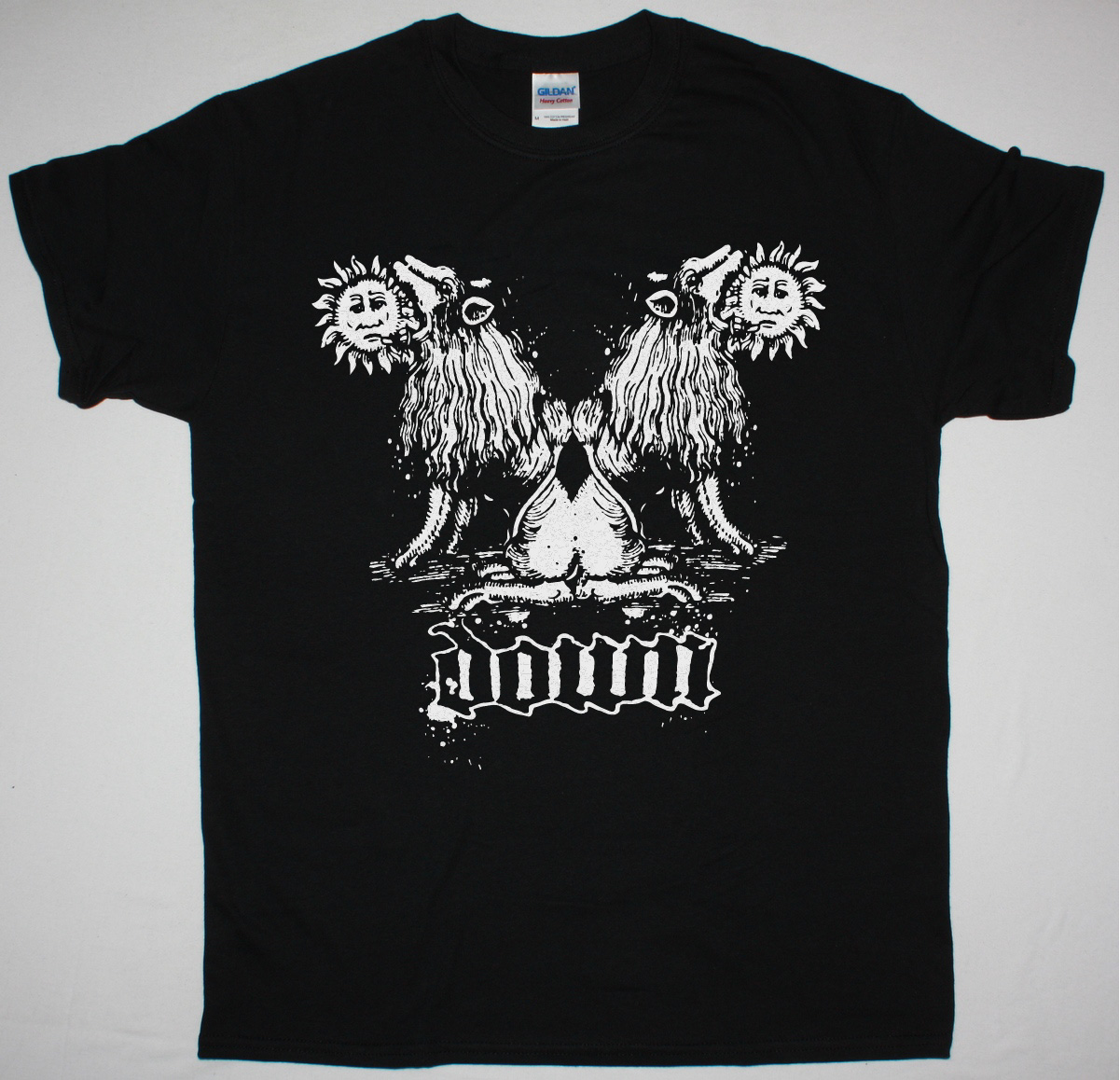 DOWN DOUBLE LION NEW BLACK T SHIRT