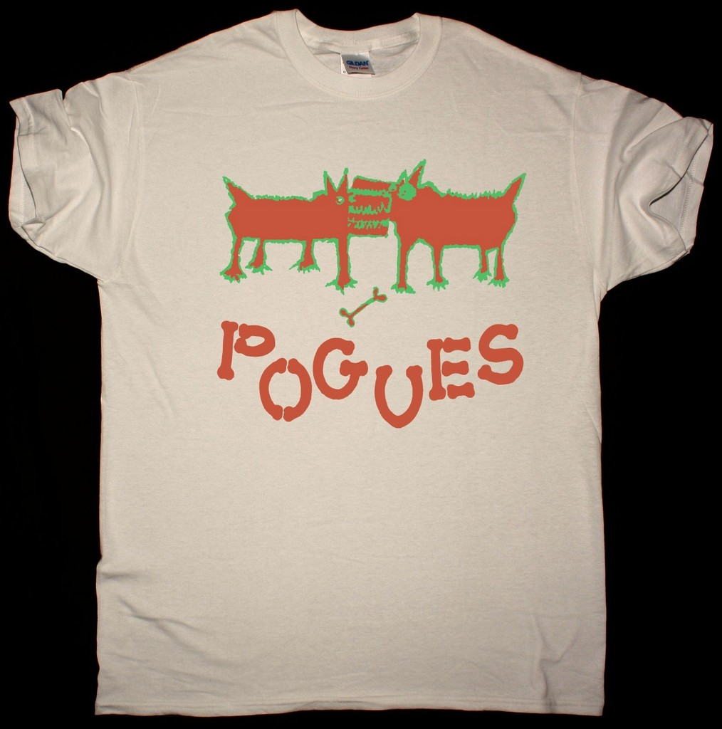 THE POGUES DOGS NEW NATURAL T SHIRT