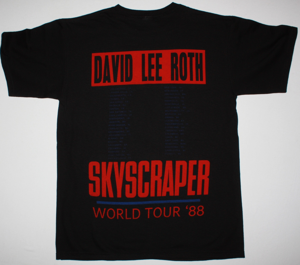 DAVID LEE ROTH SKYSCRAPER 1988 NEW BLACK T-SHIRT