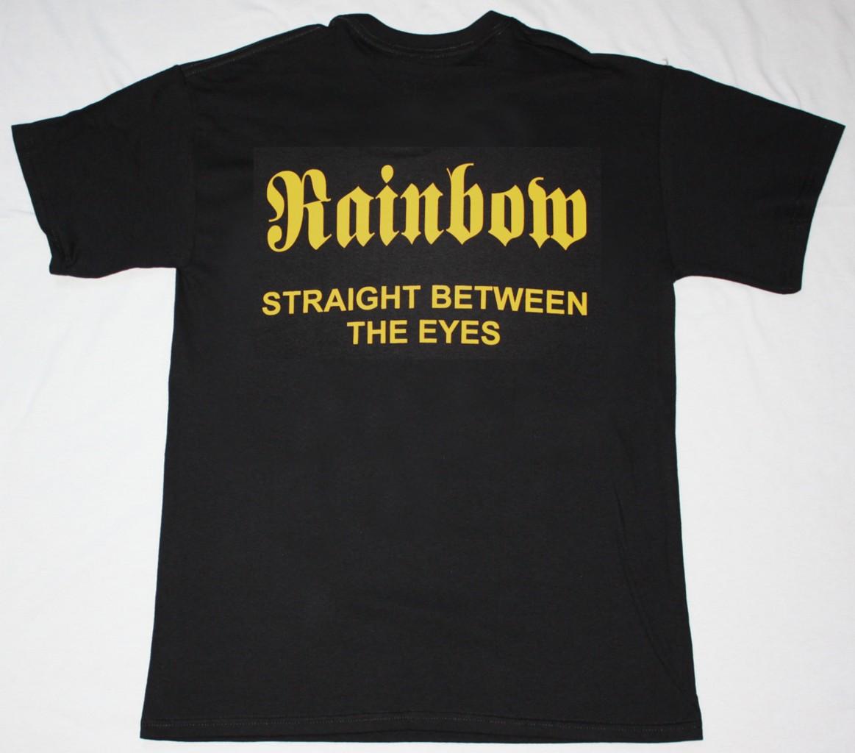 RAINBOW STRAIGHT BETWEEN THE EYES'82 NEW BLACK T-SHIRT