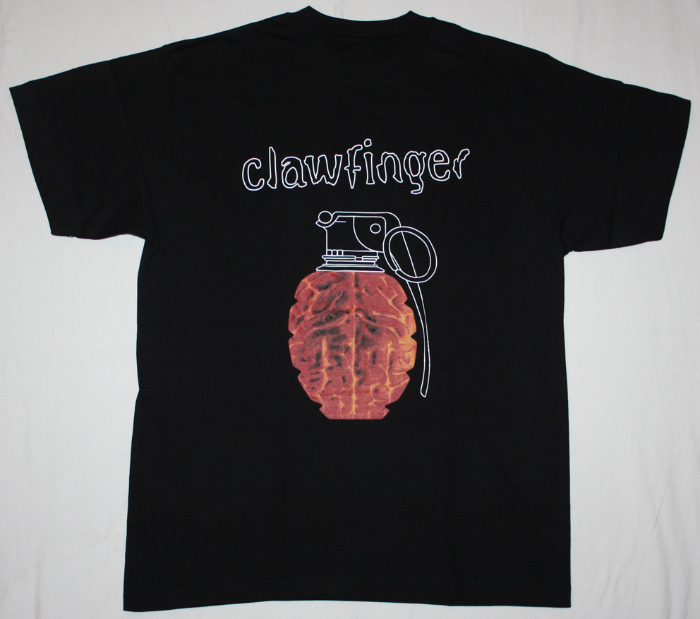 CLAWFINGER USE YOUR BRAIN'95 NEW BLACK T-SHIRT