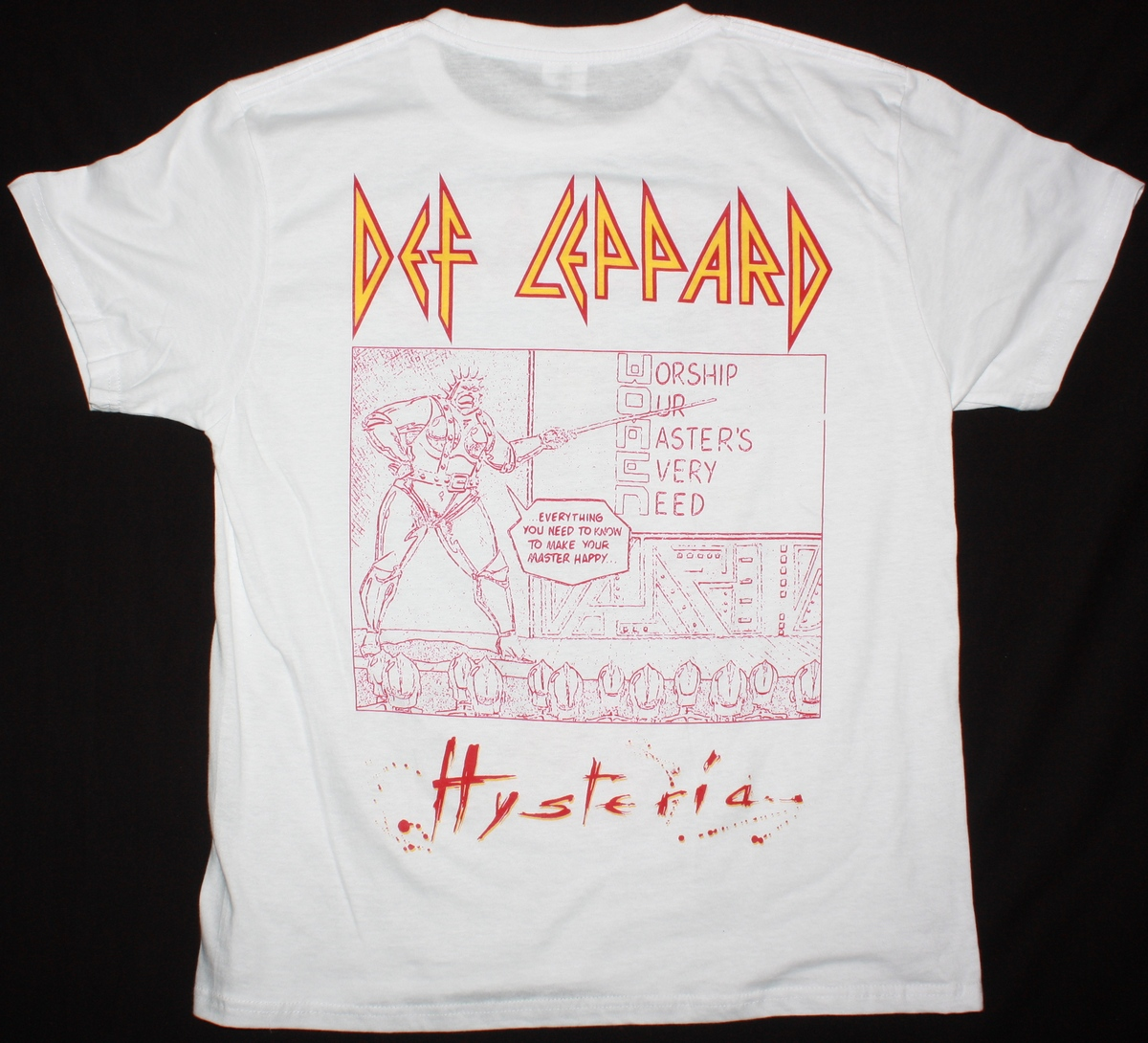 DEF LEPPARD HYSTERIA TOUR NEW WHITE T-SHIRT