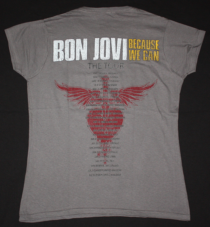BON JOVI BECAUSE WE CAN THE TOUR EUROPE 2013 NEW GREY LADY T-SHIRT