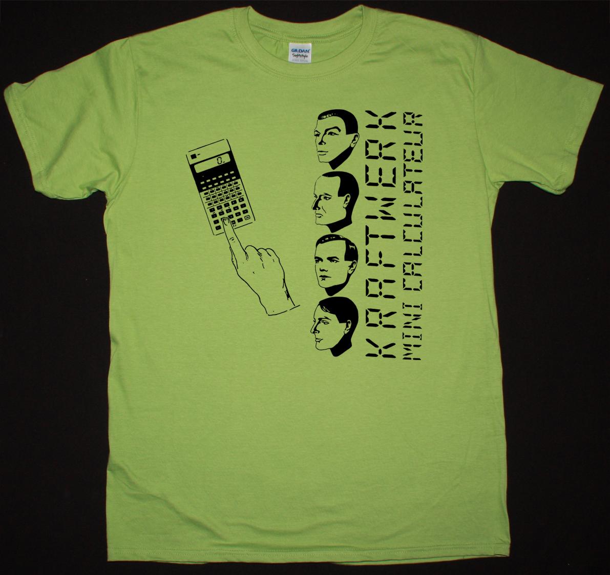 kraftwerk mini calculateur electro pop krautrock new green kiwi color t shirt best rock t shirts. Black Bedroom Furniture Sets. Home Design Ideas
