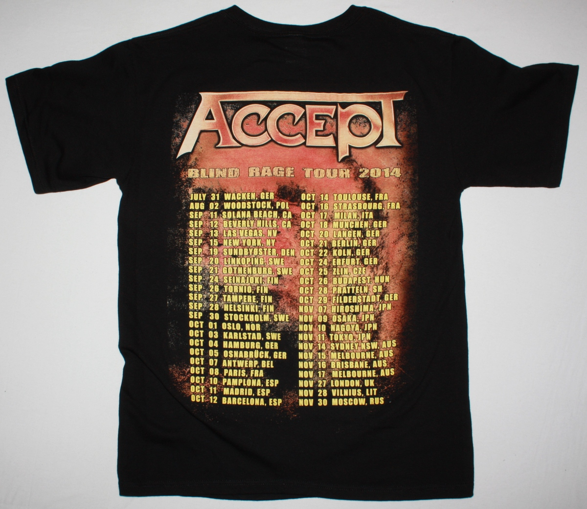 ACCEPT BLIND RAGE WORLD TOUR DATES 2014 NEW BLACK T-SHIRT