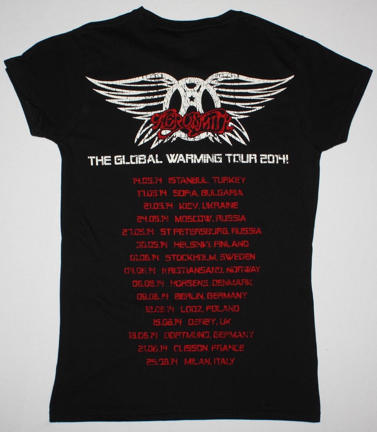 AEROSMITH AEROFORCE ONE TOUR DATES 2014 NEW BLACK LADY T-SHIRT