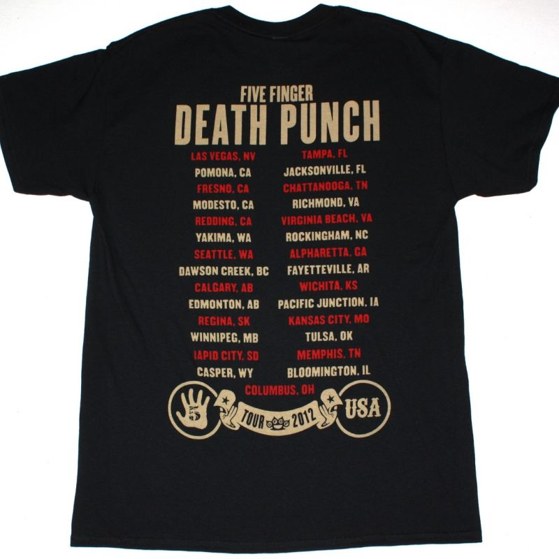FIVE FINGER DEATH PUNCH AMERICAN CAPITALIST TOUR NEW BLACK T-SHIRT