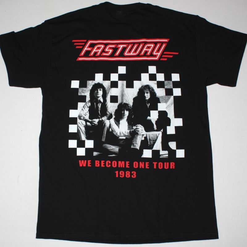 FASTWAY WE BECOME ONE TOUR NEW BLACK T-SHIRT