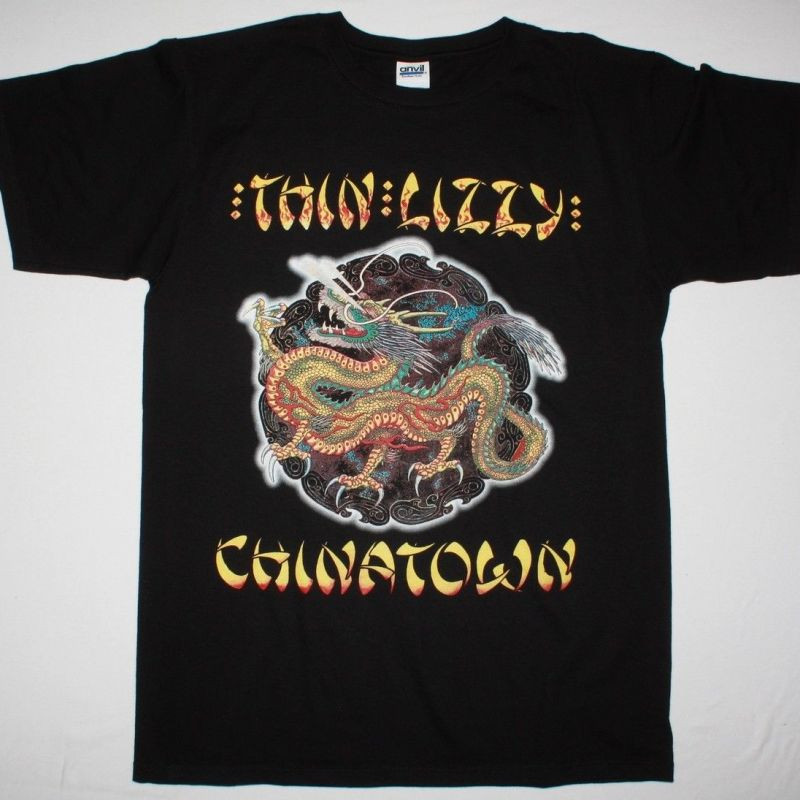 Thin Lizzy Chinatown 80 New Black T Shirt Best Rock T