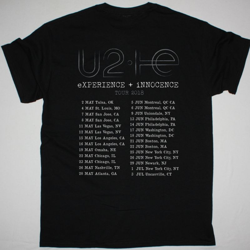 U2 EXPERIENCE + INNOCENCE NORTH AMERICA TOUR NEW BLACK T-SHIRT