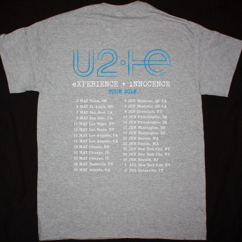U2 EXPERIENCE + INNOCENCE NORTH AMERICA TOUR NEW SPORT GREY T-SHIRT