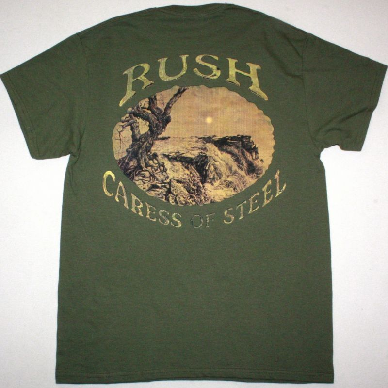 RUSH CARESS OF STEEL 1975 NEW KAKHI T-SHIRT