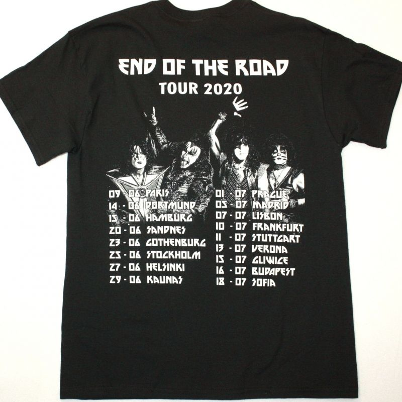 KISS END OF THE ROAD TOUR 2020 NEW BLACK T-SHIRT
