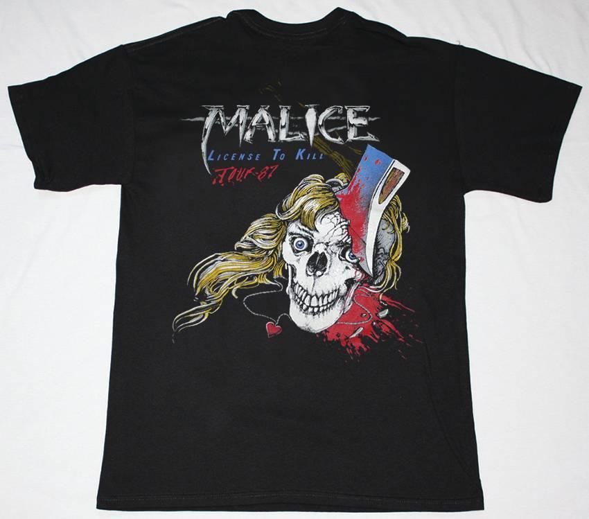 MALICE LICENSE TO KILL TOUR 87 NEW BLACK T-SHIRT