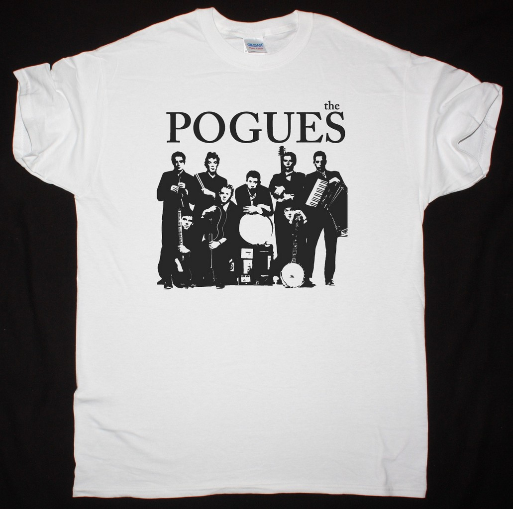 THE POGUES BAND NEW WHITE T SHIRT