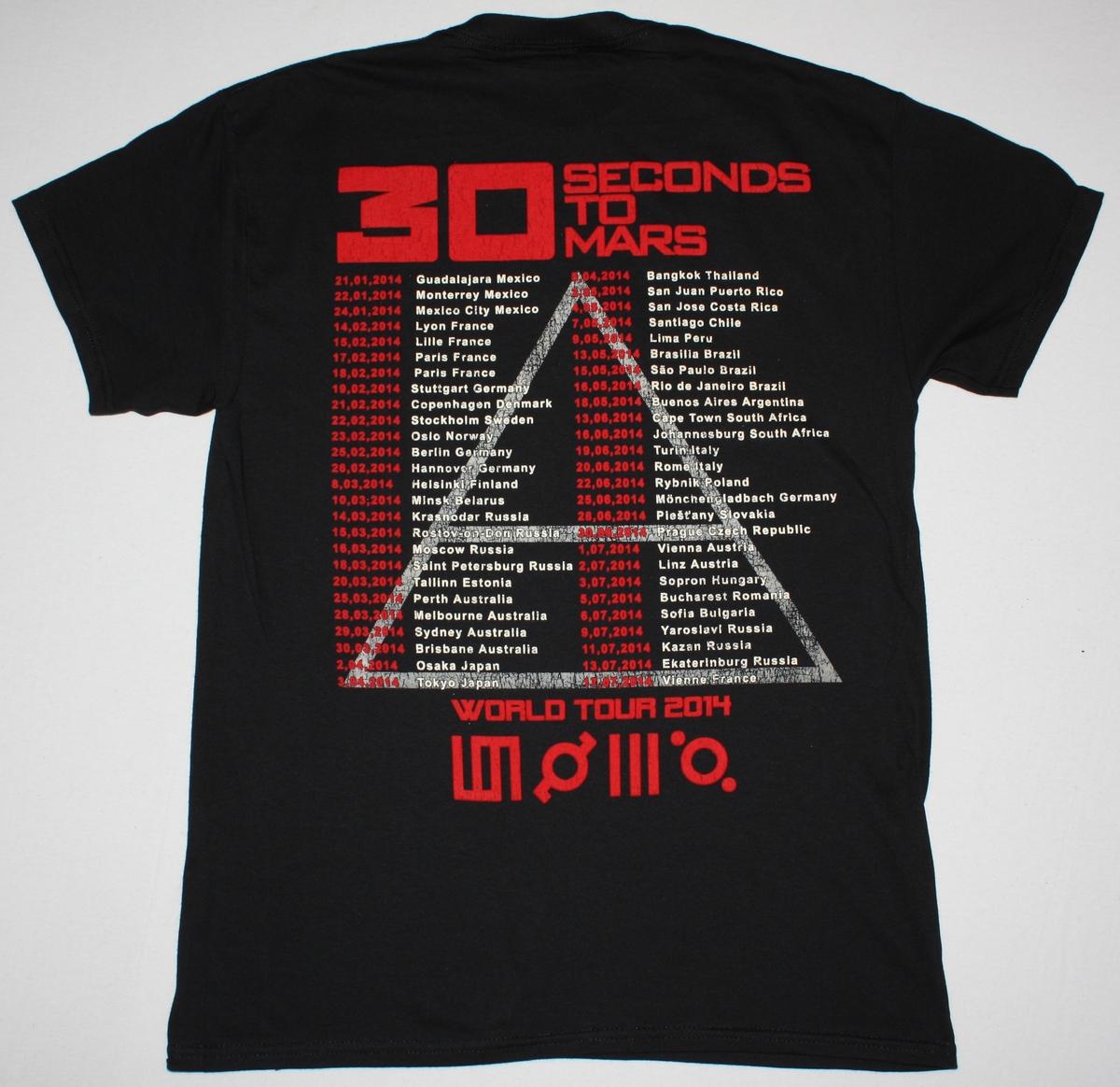30 SECONDS TO MARS WORLD TOUR 2014  NEW BLACK T-SHIRT