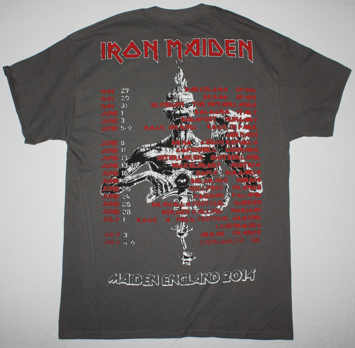 IRON MAIDEN MAIDEN ENGLAND TOUR 2014 NEW GREY CHARCOAL T-SHIRT