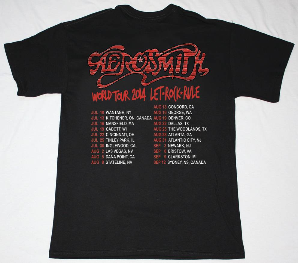 AEROSMITH LET ROCK RULE TOUR 2014 NEW BLACK TSHIRT