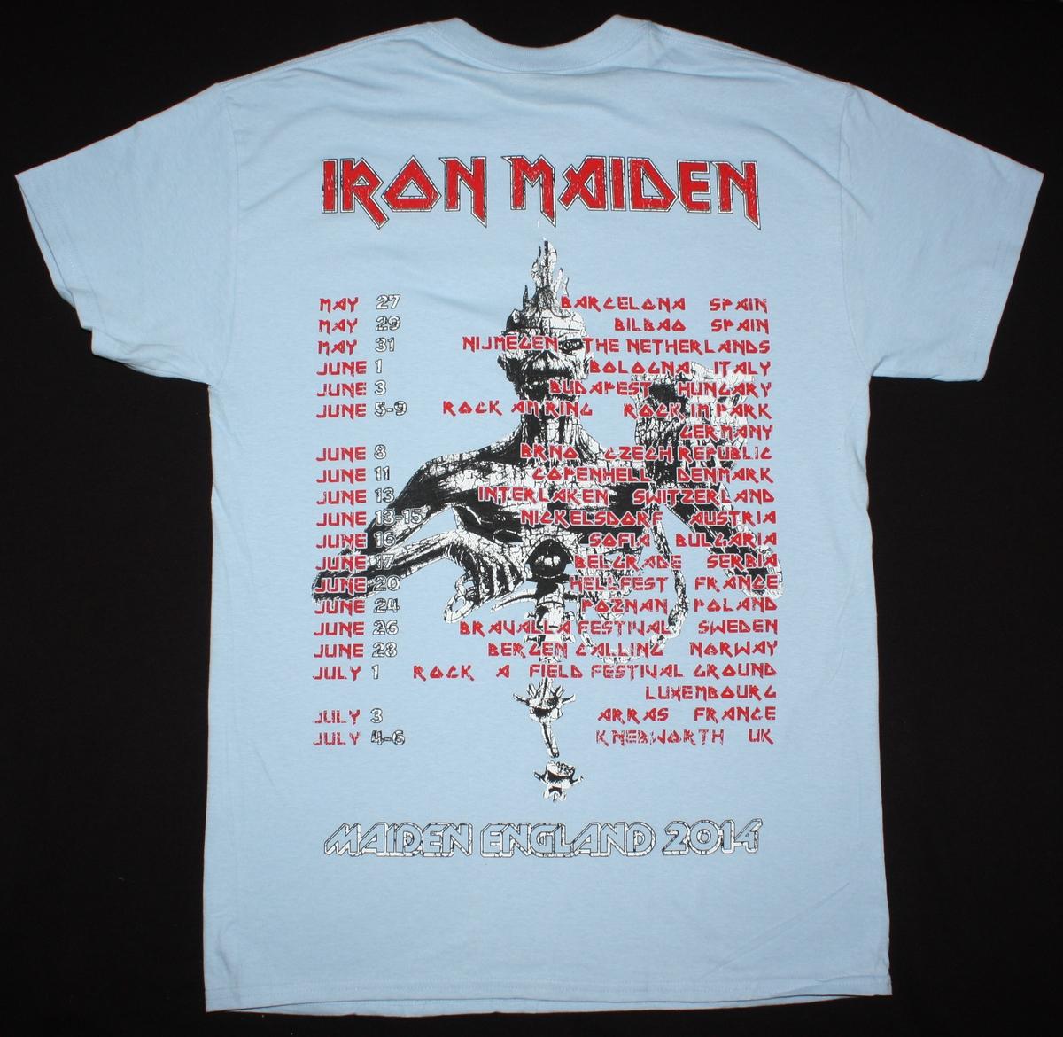 IRON MAIDEN MAIDEN ENGLAND TOUR 2014 NEW LIGHT BLUE T-SHIRT