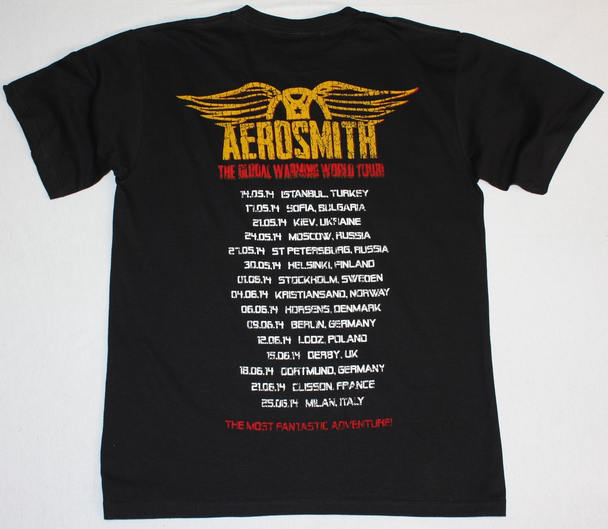 AEROSMITH BAND THE GLOBAL WARMING TOUR 2014 NEW BLACK TSHIRT