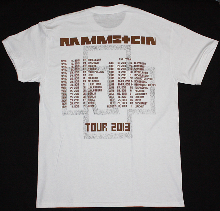 RAMMSTEIN MADE IN GERMANY TOUR EUROPE 2013 NEW WHITE T-SHIRT