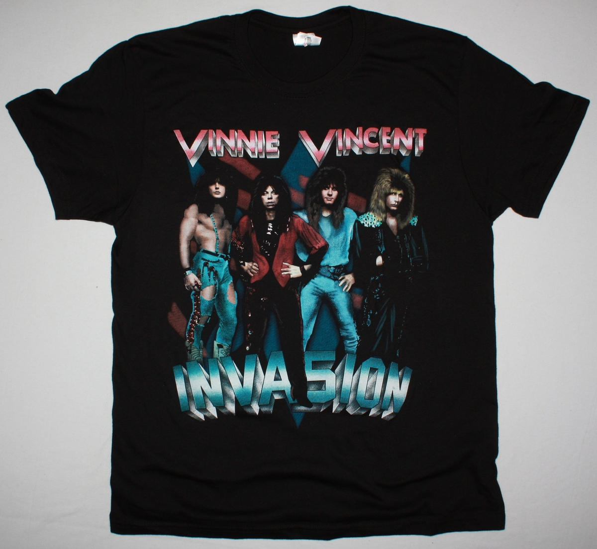 VINNIE VINCENT INVASION ALL SYSTEMS GO NEW BLACK T SHIRT