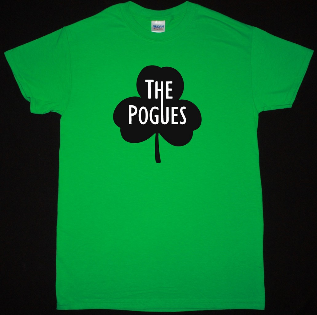 THE POGUES CLOVER LOGO NEW GREEN T SHIRT