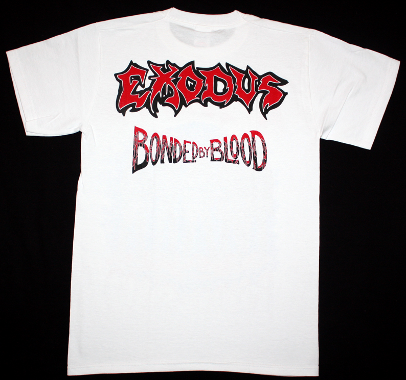 EXODUS BONDED BY BLOOD '85 NEW WHITE RARE T-SHIRT