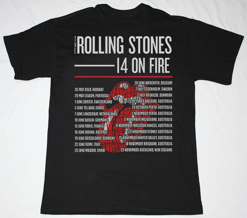ROLLING STONES 14 ON FIRE DATEBACK NEW BLACK T-SHIRT
